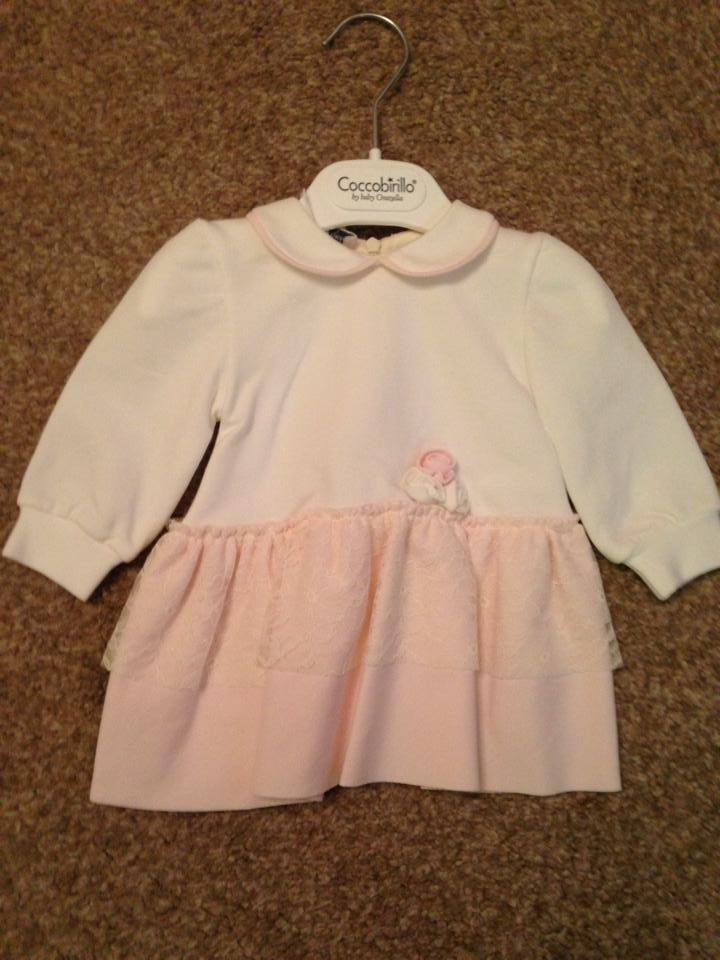 Girls Coccobirillo by Baby Graziella Cream and Pink Dress