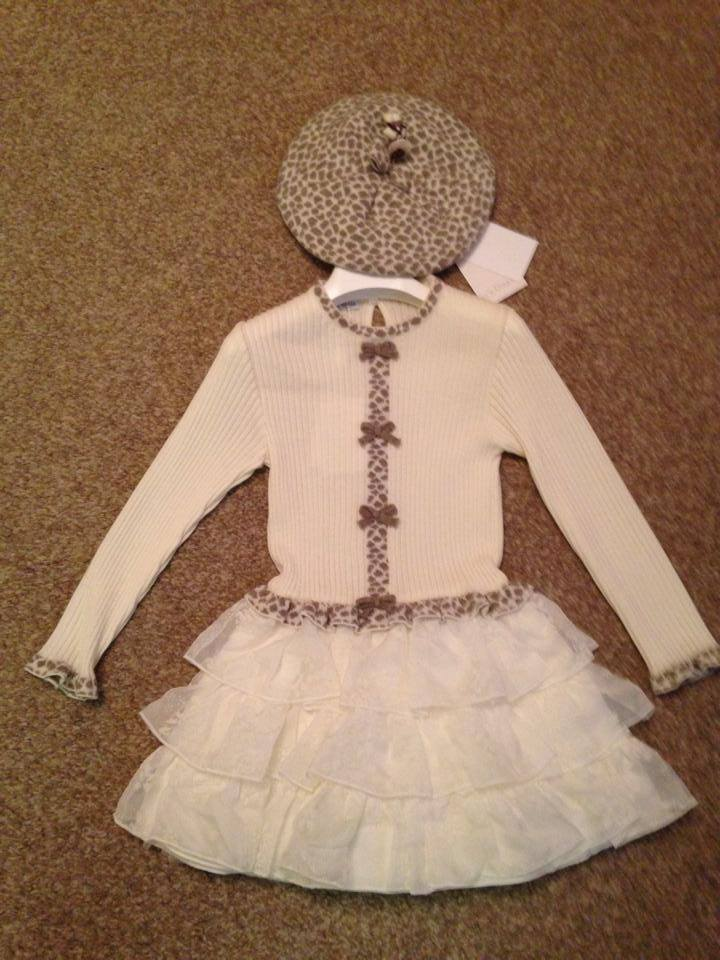 Girls Baby Graziella Cream Dress and Matching Hat