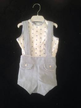 CLEARANCE PRICE Boys Azul de Colibri White and Blue Set NOW ONLY £20 Newborn Only