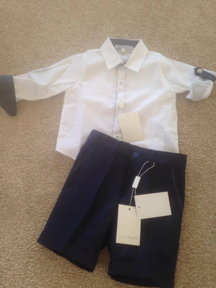 Boys Baby Graziella Shirt and Shorts - Navy and White