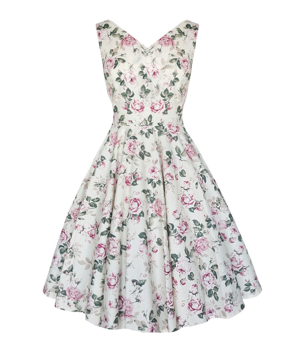 20dc8da37d5b Lily English rose floral vintage style v neck full skirt dress. Available  up ...