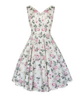 Lily English rose floral vintage style v neck full skirt dress. Available up to size 20
