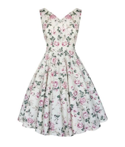 English rose floral vintage style v neck full skirt dress
