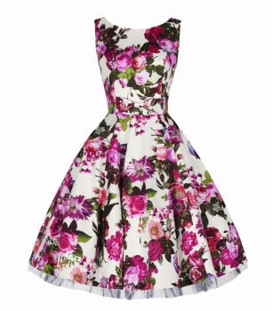 H&R London Audrey pink floral swing dress