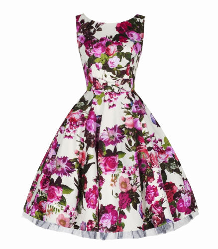 H&R Audrey pink floral 50's style dress