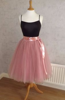 Soft pink 7 layer Tutu tulle skirt 25""