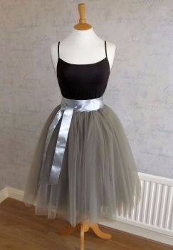 Dusty grey 7 layer Tutu tulle skirt 25""