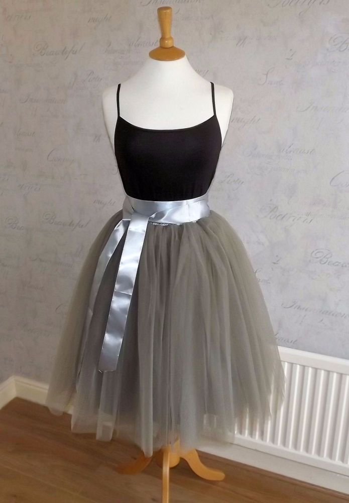 Dusty grey 7 layer Tutu tulle skirt