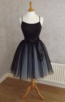 Two tone blue and black 7 layer Tutu tulle skirt 21.5""