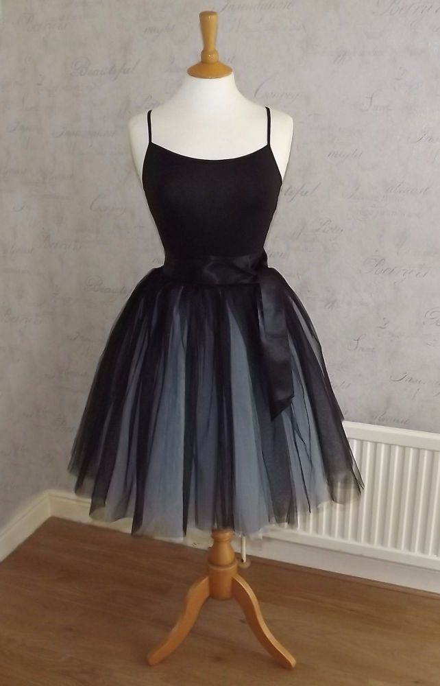 Two tone blue and black 7 layer Tutu tulle skirt 21.5