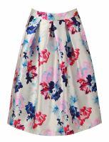 Floral structured box pleat midi skirt