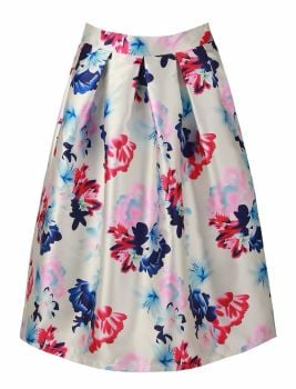 Floral structured box pleat midi skirt