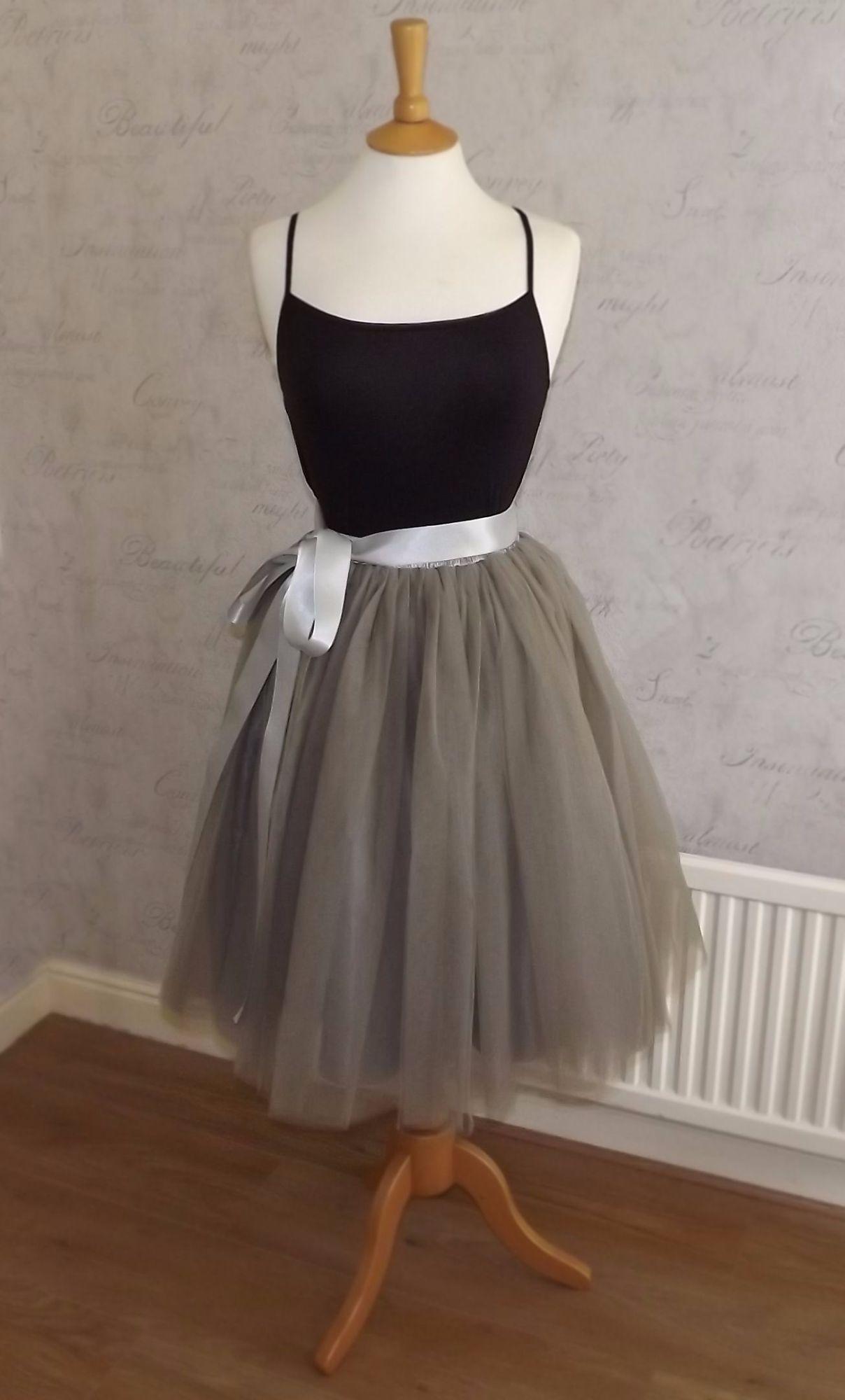 Adults Tutu Tulle Skirts Pink Grey White Black Under 163