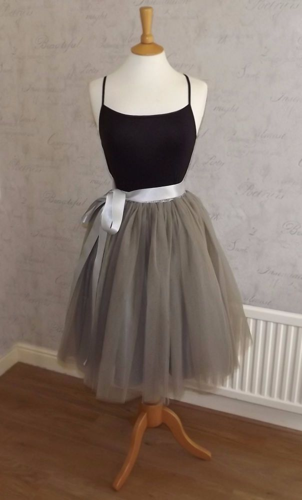Dusty grey 5 layer Tutu tulle skirt 25