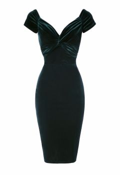 Luxury Green velvet twist pencil dress