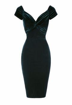 Luxury Green velvet twist pencil dress
