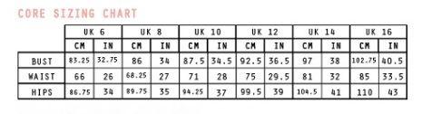 chi chi size chart
