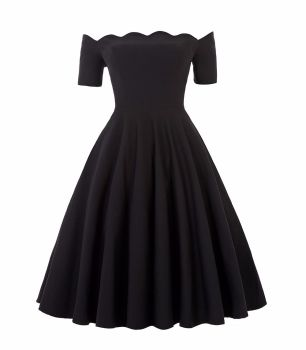 Liana luxury black off the shoulder full skirt vintage swing dress