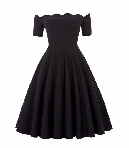 Liana luxury black off the shoulder full skirt swing dress