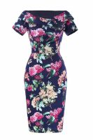 Tia blue floral pencil dress with sleeves