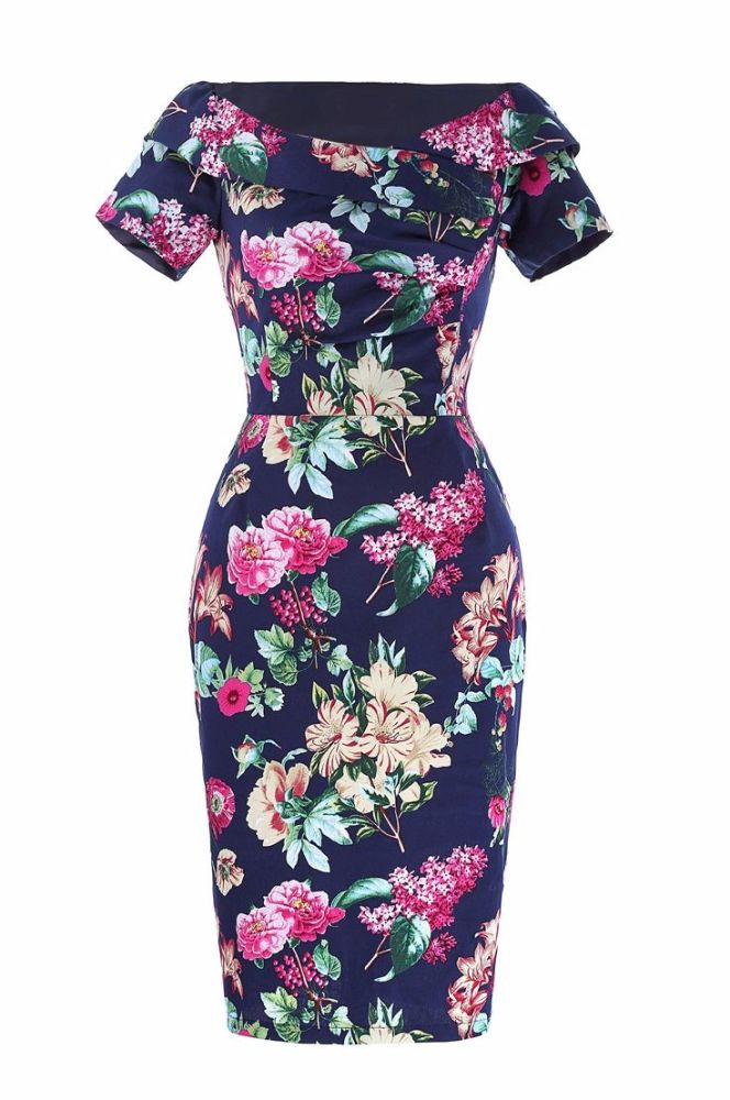 Blue floral pencil dress with sleeves