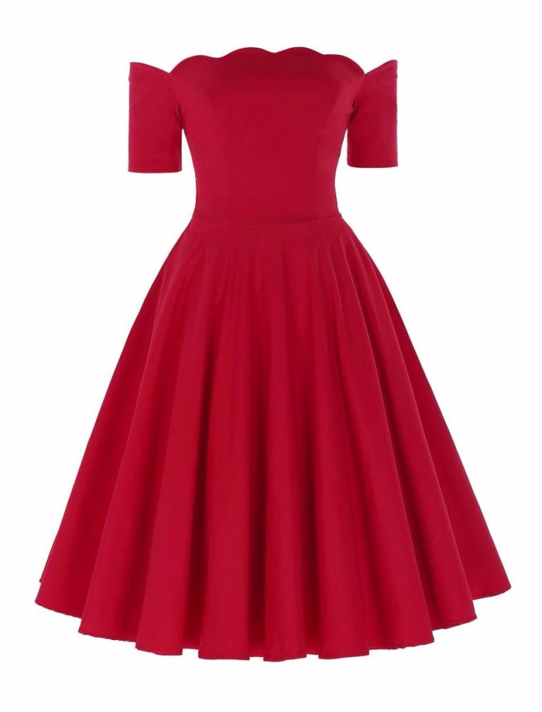 Liana luxury red off the shoulder full skirt vintage swing dress