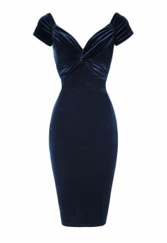 Luxury Blue velvet twist pencil dress