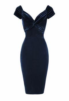 Luxury Blue velvet twist pencil dress