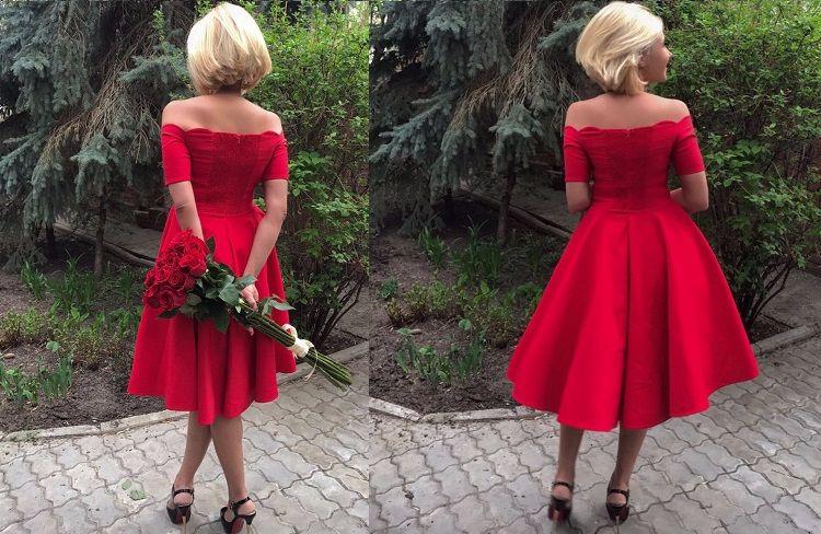 red off the shoulder dress 5
