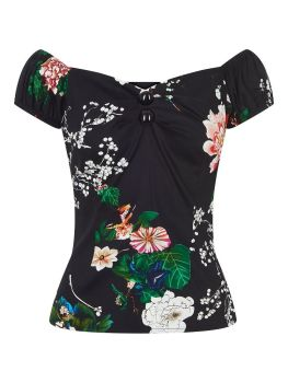 Black Dolores blossom print top