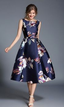 Dixie dark blue floral occasion dress