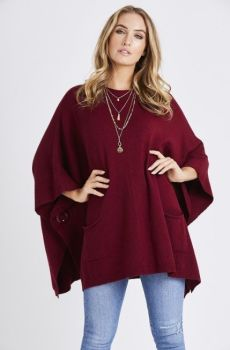 Dark red side button poncho