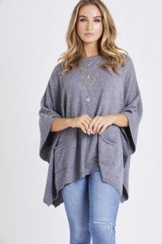 Grey side button poncho