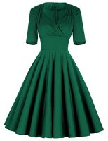 Belle luxury green 50's swing dress with sleeves