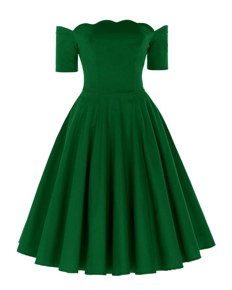 Liana luxury green off the shoulder full skirt vintage swing dress