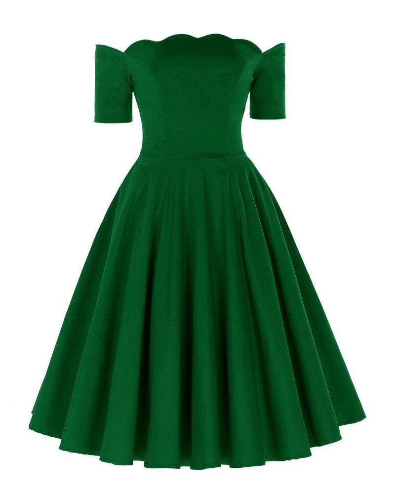 Liana luxury green off the shoulder full skirt vintage swing dress