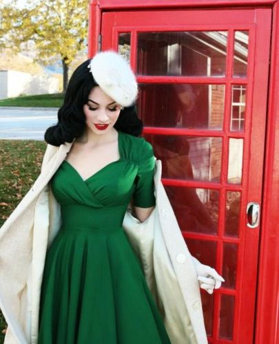 Belle green 50s swing dress