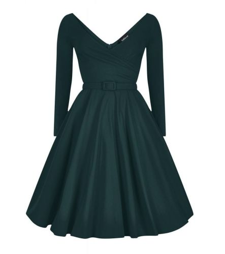 Collectif green Nicky Doll vintage style party dress with sleeves
