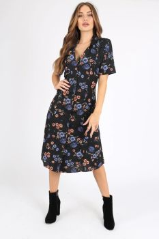 Jenny black floral tea dress