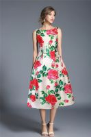 Dixie white and red floral occasion dress