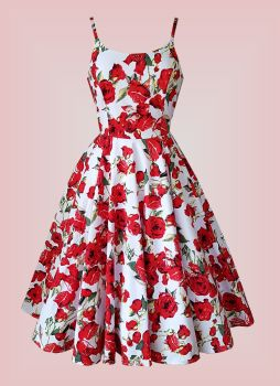 Limited Edition Carla Red Roses vintage dress with pockets