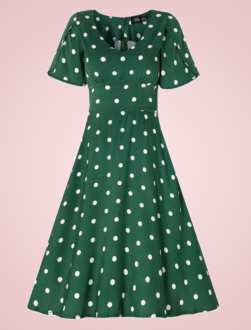 Dolly and Dotty Janice green polkadot summer dress