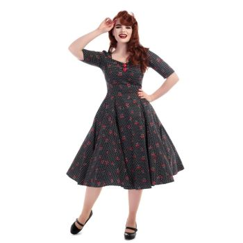 Collectif half sleeve dolores cherry swing dress