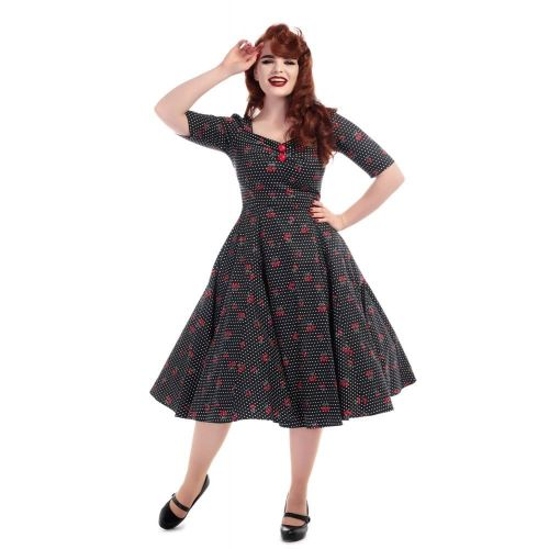Collectif Trixie velvet sparkle doll swing dress
