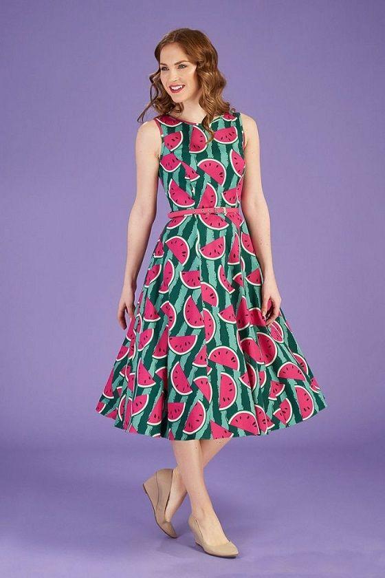 Lady vintage watermelon Audrey dress