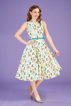 Lady vintage tiki flamingo Audrey dress