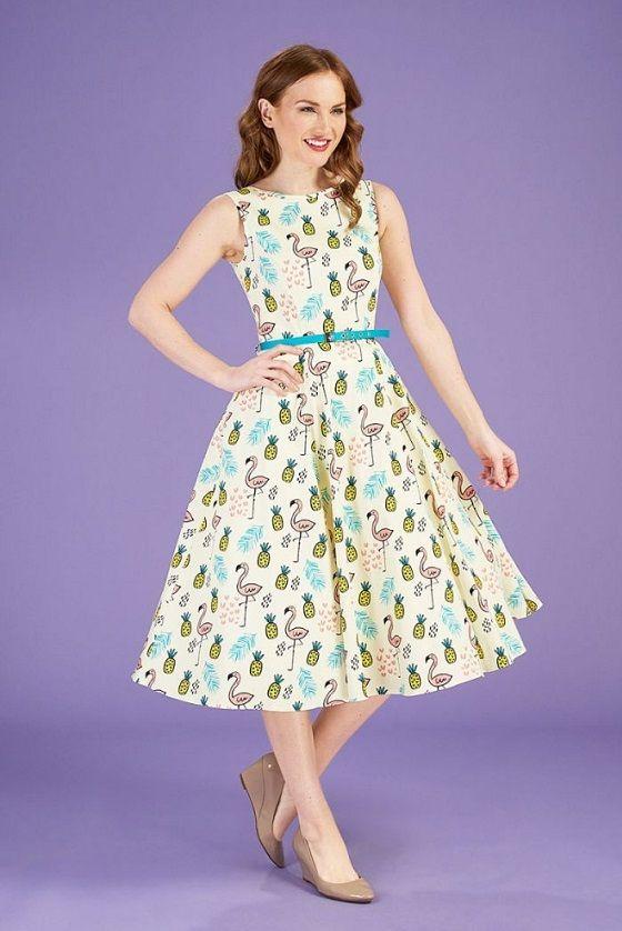 Lady vintage tiki flamingo Audrey dress