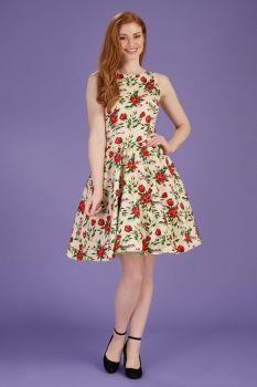 Collectif Dolores Bloom Pencil Dress Aubergine Plumb Floral Pinup Vintage UK