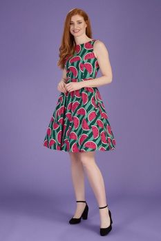 Lady vintage Watermelon print tea dress