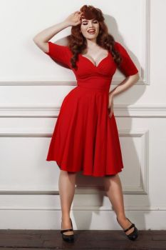 Collectif red trixie Doll vintage style party dress with sleeves